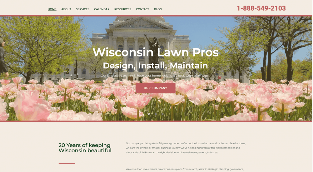 Lawn care business website example from Quetzal Web Design portfolio