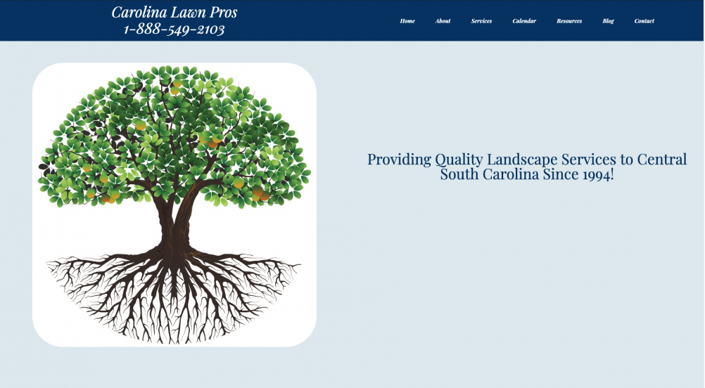 Lawn landscape business website example from Quetzal Web Design portfolio